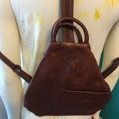 Preloved Italian Leather Backpak Perfect Little Leather Bag grime Florence.  Buttery Soft Leather.   Can be Worn Over One Shoulder or as a Backpack Bags Backpacks