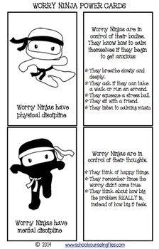Worry-Ninja-Power-Cards-1104635 Teaching Resources - TeachersPayTeachers.com