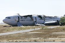 2013 ♦ July 6 – Asiana Airlines Flight 214, a Boeing 777, crashes short of the runway on landing at San Francisco International Airport, killing three of 307 on board and injuring 182. The crash was the first fatal accident involving the Boeing 777.