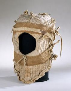 1484  Helmhaube  Made with Quilted linen, tow, hemp braids, leather