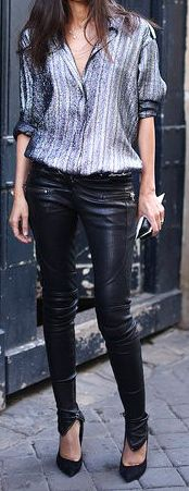 leather pants and metallic blouse <3