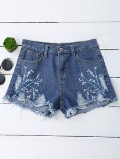 SHARE & Get it FREE | Embroidered Cutoffs Ripped Denim Shorts - Denim Blue MFor Fashion Lovers only:80,000+ Items • New Arrivals Daily Join Zaful: Get YOUR $50 NOW!