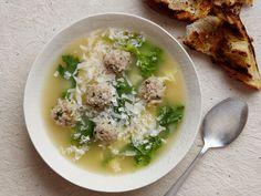 Giada de Laurentis Italian Wedding with egg drops and mini meatballs  Read more at: http://www.foodnetwork.com/recipes/giada-de-laurentiis/italian-wedding-soup-recipe/index.html?oc=linkback