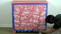 Learn how to paint and stencil an old dresser using the Secret Garden Toile pattern from Cutting Edge Stencils in Coral. http://www.cuttingedgestencils.com/garden-toile-stencil-chinoiserie-wallpaper.html