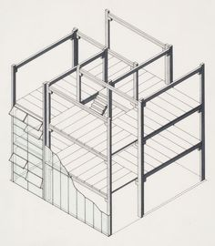 Stiff Dom-ino Housing, theoretical project (1951): cut-away axonometric view with hinged windows, JAMES STIRLING.