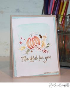 Watercolored and Gold Thankful Card by @parkermolly. #EllenHutsonLLC #EssentialsbyEllen #Thankful