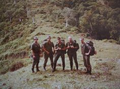 Foot patrol of french Army in New-Caledonia, middle of 1980's.