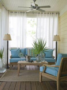porch idea.  Love the curtains