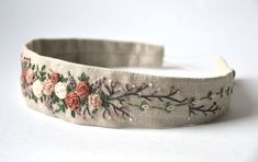 Your place to buy and sell all things handmade Embroidery Bags, Flower Embroidery Designs, Hand Embroidery Patterns, Embroidery Stitches, Rose Headband, Diy Headband, Fabric Headbands, Floral Headbands, Diy Hair Accessories