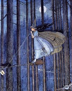 Fabulous Young Witch Flying Standing Up in the Woods--Ida Outwaithe    One of my favorite cards from long ago reproduces this famous artist's lovely illustration. Very Halloweenie to me.