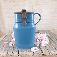 Small blue jug for soup, Polish enamel, vintage, badge, kitchen, brocante, antiques, brand, jug, milk, flower, Polish jug, bow
