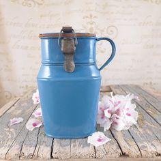 Small blue jug for soup, Polish enamel, vintage, badge, kitchen, brocante, antiques, brand, jug, milk, flower, Polish jug, bow