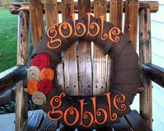 Thanksgiving / Fall / Autumn Burlap Wreath with Gobble Letter and Burlap flowers.