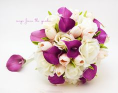 Real Touch Purple Callas Blush Pink Tulips White Roses Bridal Bouquet - Real Touch Silk Flower Bridal Bouquet