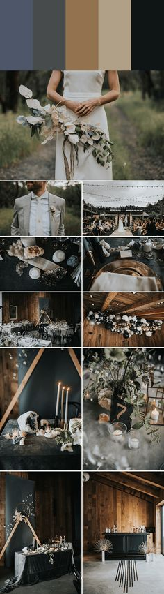 Steel blue + metal + antique gold + sand + midnight | Image by Jonnie Garrett #weddingcolors #weddingcolorpalettes #colorpalettes #colorschemes #swatches #colorswatches #weddinginspo #weddinginspiration #weddingdecor #reception #weddingreception #weddingceremony #ceremony #weddingfloraldesign #floraldesign #groomstyle #bridalfashion #finishingtouches #fallwedding #blackwedding