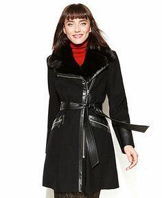 Via Spiga Coat, Belted Faux-Fur-Collar Wool-Blend - Coats - Women - Macy's