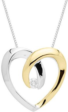 Lord & Taylor Sterling Silver with 14Kt. Yellow Gold Diamond Heart Pendant on shopstyle.com