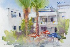 Cyprus apartments  fine art print by RobertColdwellArt on Etsy