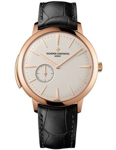VACHERON CONSTANTIN Calibre 1731 Minute Repeater (Men) • The 18K-pink-gold body, hands, and hour markers distinguish this Vacheron Constantin timepiece, which also includes a black alligator strap and a transparent, sapphire-punctuated case back. $409,900.
