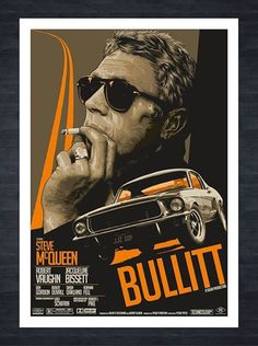 STEVE MCQUEEN - print - Fiction film poster Bullitt - Inspired by one of my favorite movies, Ive created this hand drawn illustrated digital print featur - Films Cinema, Cinema Posters, Car Posters, Poster S, Poster Wall, Steven Mcqueen, Vintage Movies, Vintage Men, Vintage Retro