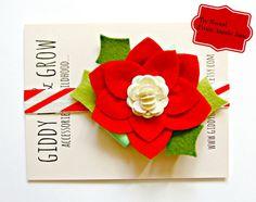 Felt Flower Headband - Poinsettia Headband with Candy Cane Elastic, Christmas on Etsy, $22.00