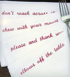 Mind Your Manners Cloth Napkins
