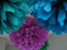 Blue fairy? Maybe. Love the colors... Custom 10 Tissue Paper Pom Pom Flower  DIY Decor by prosttothehost,