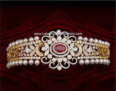 Classy Diamond Choker cum Bajubandh or armlet. Two tone diamond choker necklace edged with pearls and studded with a ruby in the center Diamond Tennis Necklace, Diamond Choker, Diamond Pendant, Diamond Necklaces, Diamond Jewellery, Jewelry Design Earrings, Gold Jewelry, Arm Bracelets, Gold Bangles Design