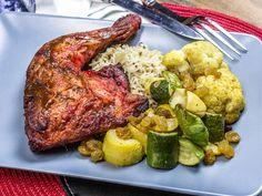 ROASTED TANDOORI CHICKEN HINDQUARTER ~Roasted Tandoori Spiced Chicken with Brown & Red Rice Pilaf, Curry Roasted Cauliflower, Raisins & Summer Squash. (~700cal)