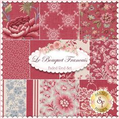 Le Bouquet Francais 10 FQ Set - Faded Red By French General For Moda Fabrics: Le Bouquet Francais by French General for Moda Fabrics. 100% cotton. This set contains 10 fat quarters, each measuring approximately 18