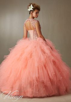 Quinceanera Dress  Vizcaya Morilee 89068 Crystal beading on ruffled tulle ball gown  *Removable shoulder coverlet* Colors: champagne/blush, coral burst/nude, Aqua/champagne and white   A back side view