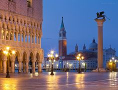 A classic view of Piazza San Marco and San Giorgio in Venice.