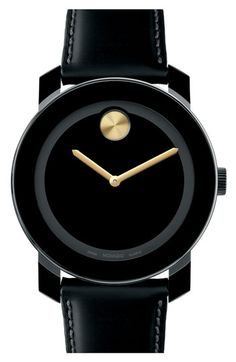 movado bold watch - black with a pop o' gold