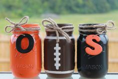 Football tailgating mason jars! https://www.etsy.com/listing/203369980/collegiate-football-painted-and