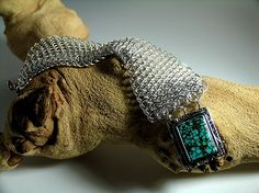 Dragonscale Bracelet in Sterling Silver, with Turquoise and Sterling Silver Clasp. http://dianafergusonjewelry.com/dataviewer.asp?keyvalue=19665&subkeyvalue=566530&page=WorksZoom