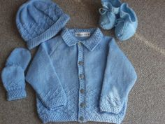 Hand Knitted Baby Set. Jacket HatBooties Mittens. by ArdSolas, £15.00