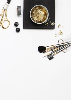 Black, gold & pink desktop styling and photography by Shay Cochrane (www.shaycochrane.com). Stock image available in the SC StockShop (scstockshop.etsy.com)  Black, gold, fuscha, z gallerie desk clock, black and white polka dot straws, pink tulips, gold scissors, black Z Gallerie round dice, black and white stripped washi tape, confetti, Sugar Paper black and white stripped monthly planner, acrylic and gold tape dispenser by Russell and Hazel , gold bowl, gold paperclips, Chanel lipstick