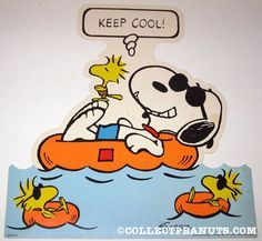 Keep Cool - Snoopy as Joe Cool in an Inner Tube With Woodstock and Friends Swimming Nearby Snoopy Cartoon, Snoopy Comics, Peanuts Cartoon, Peanuts Snoopy, Peanuts Comics, Meu Amigo Charlie Brown, Charlie Brown And Snoopy, Woodstock Bird, Sally Brown