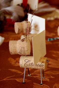Rustic Cork Reindeer Place Card Holders by lilpie on Etsy
