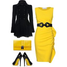 Oh man would I love to show up some where with the coat on then take it off... hello yellow!