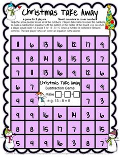 Christmas Math FREEBIE by Games 4 Learning contains 4 printable Christmas Math Board Games.