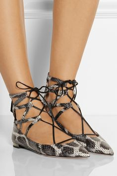Aquazzura | Belgravia elaphe point-toe flats | NET-A-PORTER.COM
