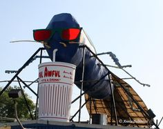 The Big Blue Bug enjoying an Awful-Awful. | The 24 Most Rhode Island Things To Ever Happen