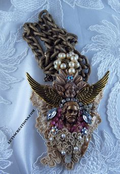"""Under His Wings"" Catholic Vintage And New Jesus Christ Ex-Voto Flaming Heart Handmade Necklace www.letyscreations.com"