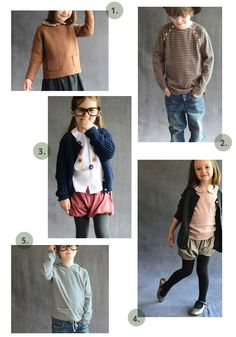 {1. wonderland jumper 2. marin top 3. maude cardigan 4. elephantito shoes in gunmetal 5. playtime hoodie } Looking for what to dress the kids in this fall