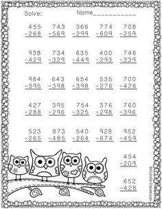 3 NBT 2 More Fall Themed 3 Digit Subtraction With Regrouping is part of Math - djinkers com DJ Inkers Commercial License 3179233286 3rd Grade Math Worksheets, Subtraction Worksheets, 2nd Grade Math, Grade 1, Math Drills, Niklas, Homeschool Math, Math For Kids, Addition And Subtraction