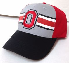 c0a9b067443 New OHIO STATE BUCKEYES HAT Gray Red White Black Striped Curved-Bill  Men Women