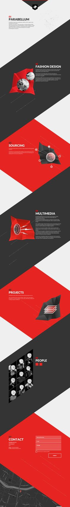 Slick One Pager with a unique diagonal-themed design for Italian fashion-focused digital agency, 'Parabellum Studio'. Nice touch as well with the hover-sensitive molecule background effect in the intro.