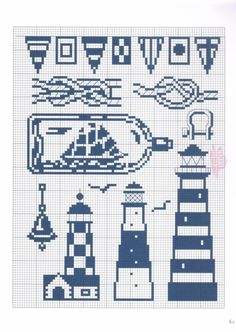 Filet crochet lighthouse ~ I want to crochet a lighthouse dishcloth & towel set, but can't find a decent pattern ~ Maybe I can use these???