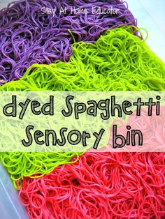 A dyed spaghetti sensory bin is the perfect addition to any sensory play. Learn how to dye cooked spaghetti for sensory bins to add to your preschool lesson plans.